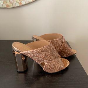 Rose gold sparkly high heeled sandal
